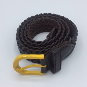 Other - Genuine leather braided belt with yellow buckle